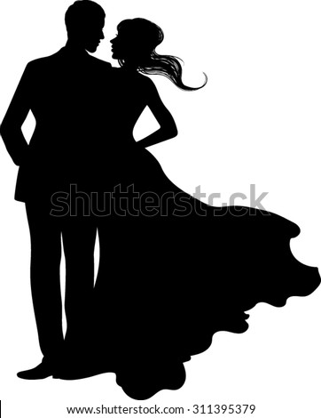 Silhouette - Couple - Vector Illustration - stock vector