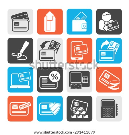 Silhouette credit card, POS terminal and ATM icons - vector icon set - stock vector