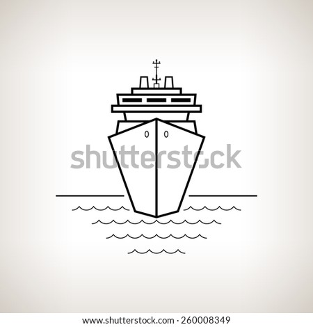 Silhouette cruise ship, passenger ship or carrier on a light background,  black and white  vector illustration - stock vector