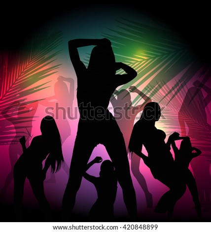silhouette dancing girl in party