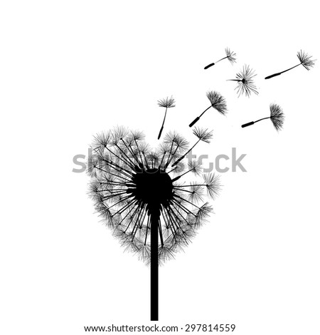 Silhouette dandelion in the form of heart. Vector Image Stock.
