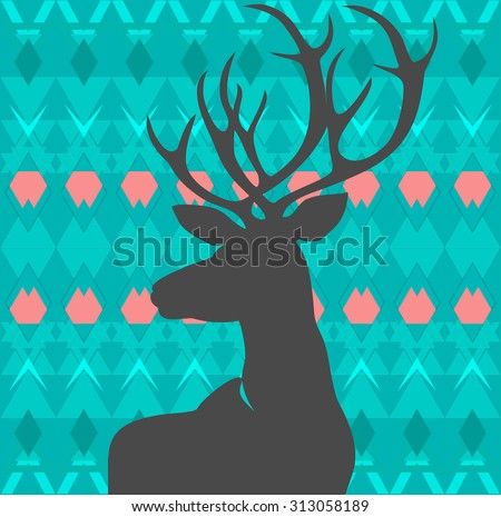 Silhouette deer on background of patterned carpet - stock vector