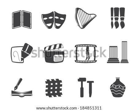 Silhouette different kind of Arts Icons - Vector Icon Set - stock vector