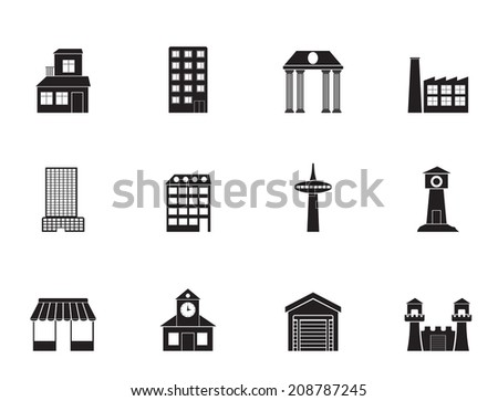 Silhouette different kind of building and City icons - vector icon set - stock vector