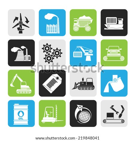 Silhouette different kind of business and industry icons - vector icon set - stock vector