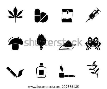 Silhouette Different kind of drug icons - vector icon set - stock vector