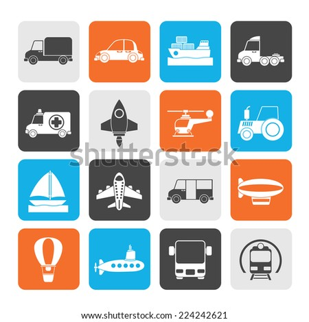 Silhouette Different kind of transportation icons - vector icon set - stock vector