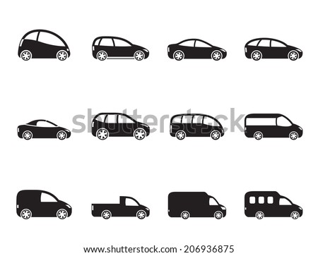 Silhouette different types of cars icons - Vector icon set - stock vector