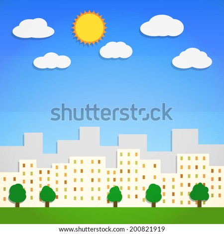 silhouette downtown city landscape and green tree in blue sky with cloud and sun background(vector) - stock vector