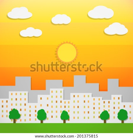 silhouette downtown city landscape and green tree in orange summer sky with cloud and sun background(vector)  - stock vector