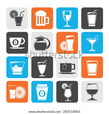 Silhouette drinks and beverages icons  -vector icon set - stock vector