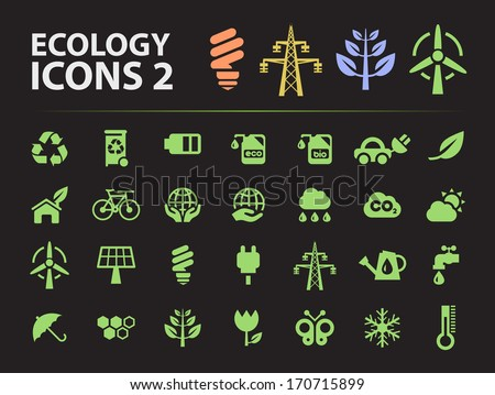 Silhouette Ecology Icons 2. - stock vector