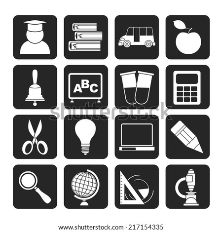 Silhouette education and school icons - vector icon set - stock vector