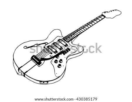 silhouette electric guitar,vector