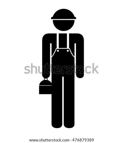 silhouette employee worker design isolated