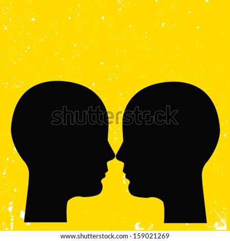 silhouette face profile over yellow background. vector illustration  - stock vector