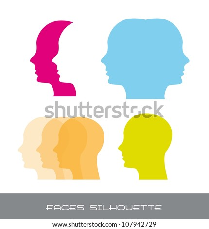 silhouette faces over white background. vector illustration - stock vector