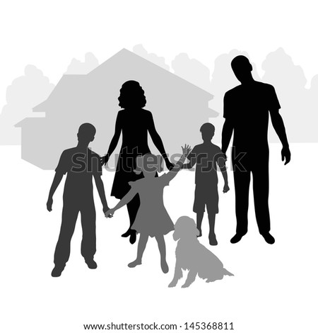 silhouette family on the background of his home - stock vector
