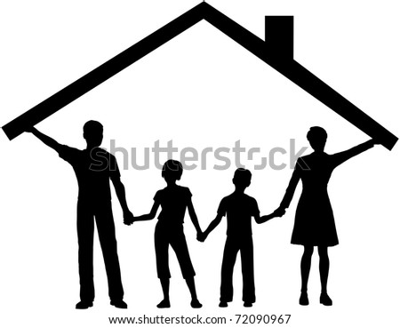 Silhouette family safe at home as mom and dad hold up the roof over kids - stock vector