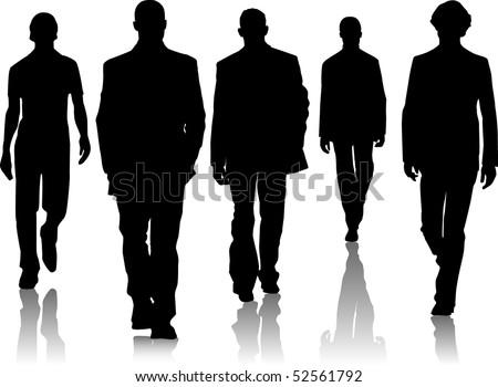 Silhouette fashion men - stock vector