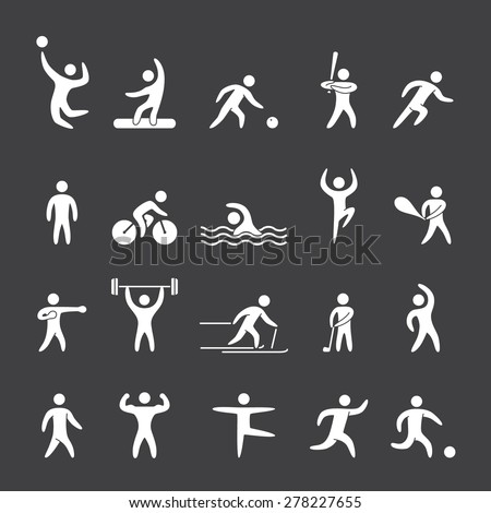 Silhouette figures of athletes popular sports. Running, cricket, golf, fitness, bodybuilding, dance, yoga, soccer and other