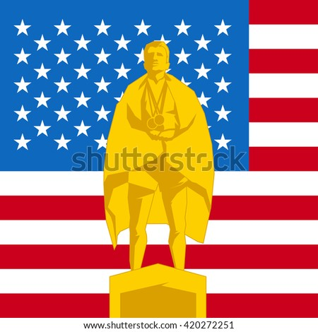 Silhouette first place on the podium with flag United States of America - stock vector