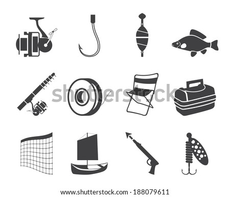 Silhouette Fishing and holiday icons - vector icon set - stock vector