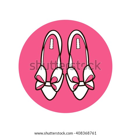 Silhouette flat cartoon line art women's female high heel shoes with bows on pink circle isolated on white background/ fashion icon shoes vector eps 8