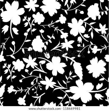 silhouette flowers ,seamless flowers and leaves pattern,chic background - stock vector