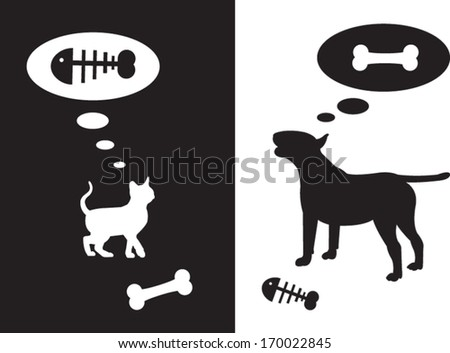 Silhouette for dog and cat thinking about food - stock vector