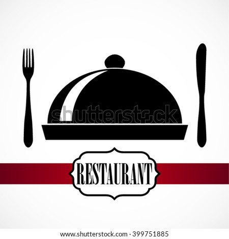 silhouette fork knife and cloche / restaurant theme vector illustration