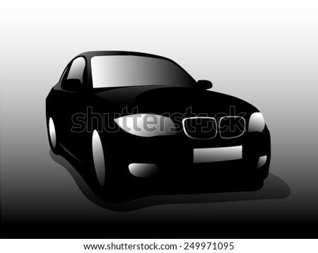 Silhouette front car. Vector illustration