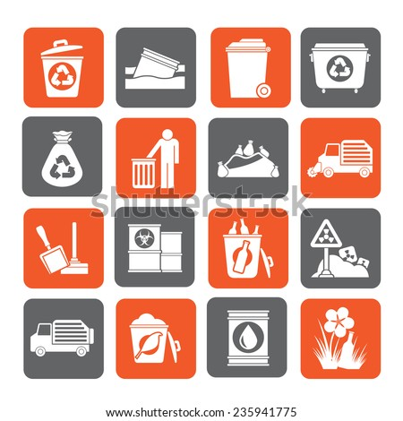 Silhouette Garbage and rubbish icons - vector icon set - stock vector