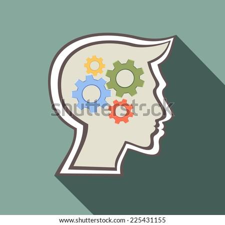 silhouette gear head - stock vector