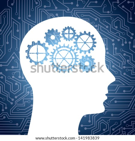 silhouette gear head isolated over circuit background. vector illustration - stock vector