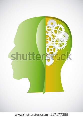 silhouette gear head over white background. vector eps 10. - stock vector