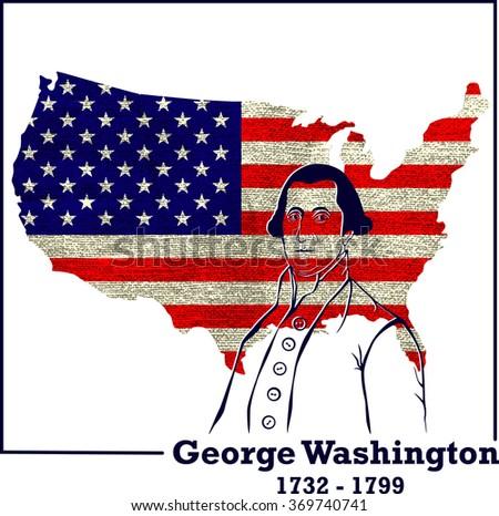 Silhouette George Washington. American president, vector illustration - stock vector