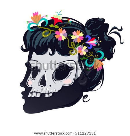 Silhouette girl  with skull. Calavera Catrina. Mexican Day of the dead or halloween person. Dia de los Muertos. Woman Skull Illustration.