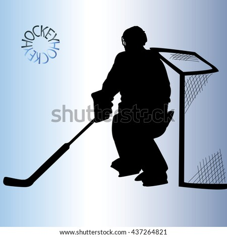Silhouette goalkeeper. The black silhouette of a hockey player. Winter sport. Vector illustration.