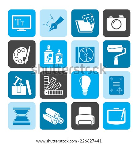 Silhouette Graphic and website design icons - vector icon set - stock vector