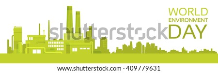 Silhouette Green Plant World Environment Day Factory Banner Flat Vector Illustration