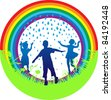 silhouette  group children  a rainbow and a grass - stock photo