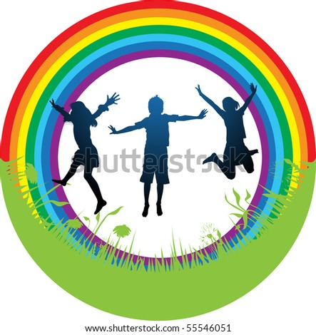silhouette  group children  a rainbow and a grass - stock vector