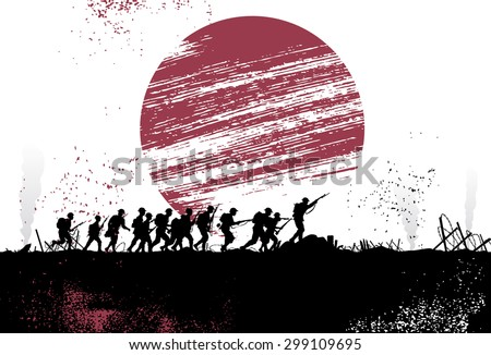 Silhouette group of soldiers in battlefield with Japanese flag as a background. All objects are grouped. - stock vector