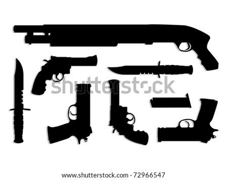 silhouette guns equipment - isolated illustration - stock vector