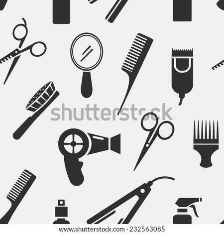 Silhouette Hairdressing Tools in Seamless Pattern Graphic Design on Gray Background. - stock vector