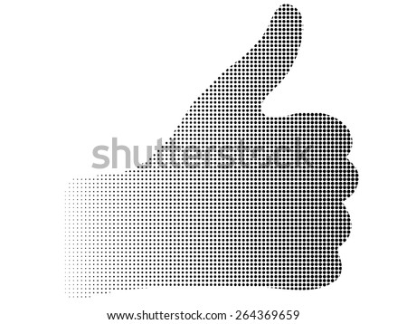 silhouette halftone dotted up thumb hand abstract background
