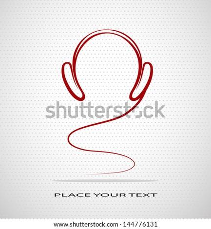 silhouette headphones on seamless background - stock vector