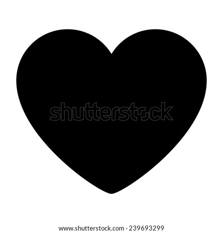 Silhouette Heart Isolated. Editable Vector Illustration.  - stock vector