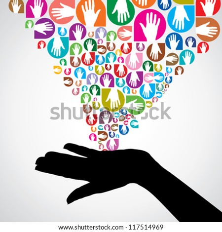 silhouette helping hand concept - stock vector
